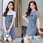 牛仔洋裝-修身顯瘦高腰假兩件連身裙女 夏季短袖條紋襯衫拼接裙一步裙