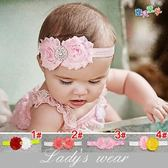 髮帶 毛茸茸花朵鑽石蕾絲髮帶髮飾 兩色 寶貝童衣 售完下架
