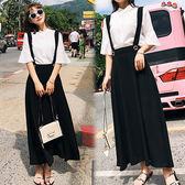 【韓國K.W.】(預購)  M~L  純色學院風兩件套背帶亞麻裙