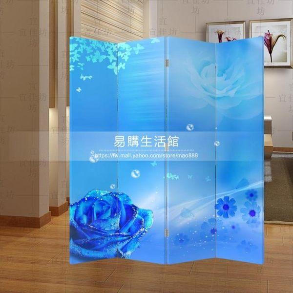 屏風隔斷/時尚玄關門-藍色 玫瑰花197YG-14883
