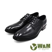 W&M(男)大尺碼真皮紳士素面綁帶德比鞋 男鞋-黑
