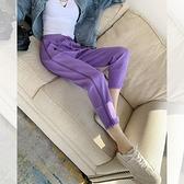 韓版休閒褲春季運動褲新款女時尚寬鬆顯瘦百搭bf風衛褲束腳褲