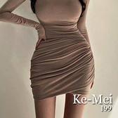 克妹Ke-Mei【AT70426】韓國東大門外銷單!心機不規則莫代你棉短裙