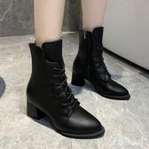 大碼粗跟馬丁靴女2019新款秋鞋英倫風百搭系帶高跟短靴 XN7289『寶貝兒童裝』