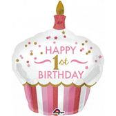 73*91cm鋁箔氣球(不含氣)-1歲杯子蛋糕粉
