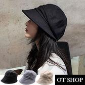 OT SHOP帽子 素面春夏棉質透氣內裡 盆帽 遮陽帽 穿搭配件 實拍實穿 黑色 現貨 C2081