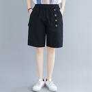 鬆緊腰棉麻五分闊腿短褲(2色M~XL)*...