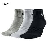 Nike 短襪 SX4703-901 三雙一組(黑灰白)  厚款毛巾底 3PAK LIGHTWEIGHT QUARTER