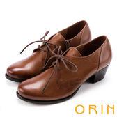 ORIN 英倫街頭時尚 復古牛津皮料綁帶粗跟踝靴-棕色