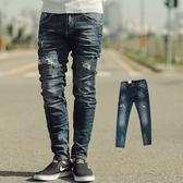 牛仔褲 韓國製深藍刷色抓破合身牛仔褲【NB0432J】