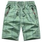 沙灘褲 格子男士短褲夏季五分褲男寬鬆純棉沙灘褲運動花加肥加大褲衩外穿 快速出貨