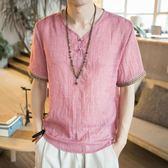 國潮t恤男短袖 中國風男裝加肥加 大碼寬鬆潮胖半袖中式V領復古體恤 降價兩天