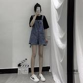 女裝工裝褲套裝闊腿牛仔短褲吊帶褲夏季薄款【聚物優品】