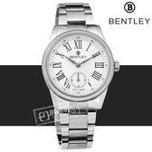 BENTLEY 賓利 / BL1615-1020002 / 奢華晶鑽 藍寶石水晶 秒針視窗 日本機芯 德國製造 不鏽鋼手錶 銀色 32mm