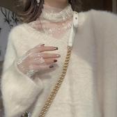 蕾絲打底衫仙女網紗長袖上衣超仙高領蕾絲打底衫女秋冬2020洋氣內搭 雙11提前購