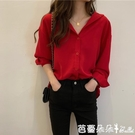 長袖襯衫 襯衫上衣女春裝長袖設計感 女士洋氣女裝紅色衫襯衣-Ballet朵朵