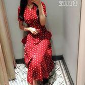 洋裝 ins超火的v領冷淡風紅色法式復古雪紡波點連身裙女夏新款裙子 青山市集