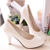 職業跟鞋  韓版女鞋圓頭細跟高跟鞋中跟職業工作鞋單鞋漆皮鞋