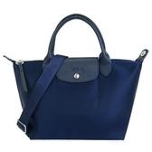 【南紡購物中心】LONGCHAMP 新款厚尼龍奔織紋馬寬背帶短把兩用包(小/深藍)