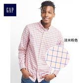 Gap男裝 紗染彈力府綢長袖襯衫 227668-淡米粉色