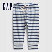 Gap嬰兒 條紋設計鬆緊休閒褲 624781-藍色