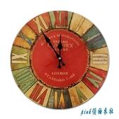 歐式復古鐘表個性掛表壁掛臥室客廳靜音時鐘墻上裝飾創意家用電子掛鐘 PA304【pink領袖衣社】