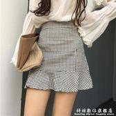 魚尾裙夏季女裝清新格子包臀A字短裙學生高腰顯瘦荷葉邊魚尾半身裙 科炫數位