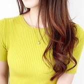針織上衣 夏季薄款套頭短袖針織打底衫風情通勤女T恤短款修身韓版圓領半袖 交換禮物