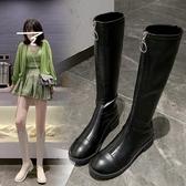 彈力春秋高筒長靴女2021秋款網紅小個子不過膝中筒顯瘦長筒騎士靴3C數位百貨