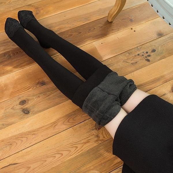 連褲襪加絨加厚女冬季打底褲襪連腳襪灰色黑色連襪絲襪外穿秋冬款 挪威森林
