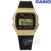 CASIO / F-91WM-9A / 卡西歐方型復刻回歸計時電子橡膠手錶 黑金x黑 32mm