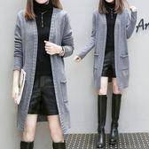大尺碼XL-4XL中長款針織外套休閒衫秋季外套女加大码长袖开衫加大码中长款针织衫口袋毛衣4F072-8822