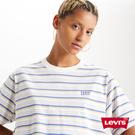 Levis 女款 條紋短袖T恤 / BOXY方正大寬袖 / 刺繡Serif Logo
