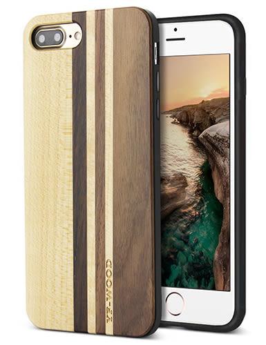 【美國代購】iPhone 7 plus 獨特原木木紋 手工雕花 保護殻, Retro Camera Engraving - Light Stylish 款式