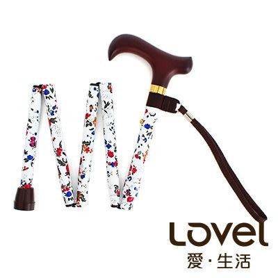 里和Riho LOVEL 輕量版一秒展開摺疊伸縮拐杖/手杖(白玫瑰)