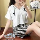 *孕婦裝*兩件式減齡連帽+條紋背心裙孕婦...