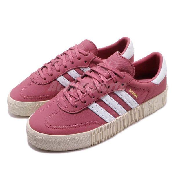 adidas 休閒鞋 Sambarose W 紅 白 金標 鬆糕鞋 厚底增高鞋 女鞋【PUMP306】 B28161