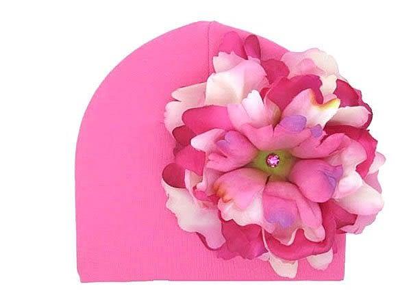 【美國 Jamie Rae】寶寶帽 / 棉帽 - 糖果粉底+粉紅覆盆子牡丹