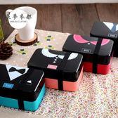 便當盒日式飯盒便當盒微波爐創意可愛學生午餐盒日式多層分隔帶叉勺 雙12快速出貨八折