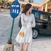 現貨 網紅風雪紡連衣裙女春夏2019新款女裝韓版長袖短款A字裙 長袖洋裝連身裙