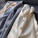 珍珠毛衣 珍珠扣細膩兔絨薄款小開衫純色毛衣針織衫披肩外套防曬衣空調衫 芊墨左岸