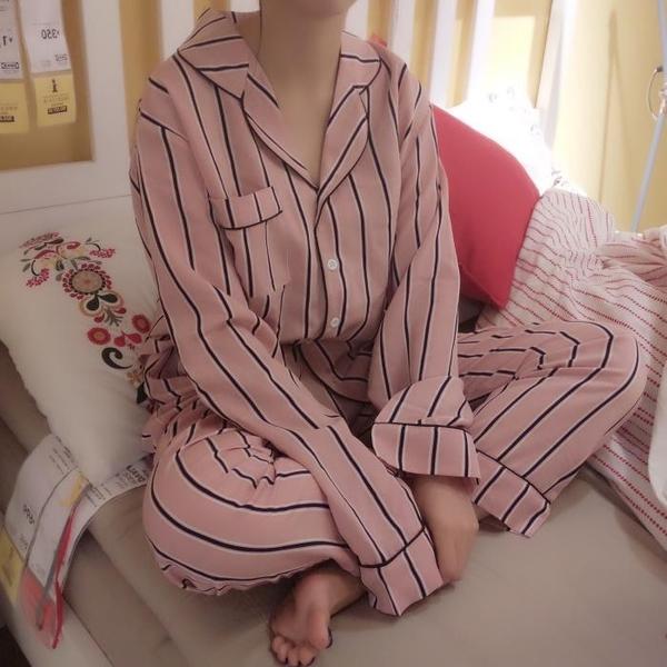 [超豐國際]秋季女裝甜美寬松豎條紋長袖襯衫睡衣女休閑家居服長1入