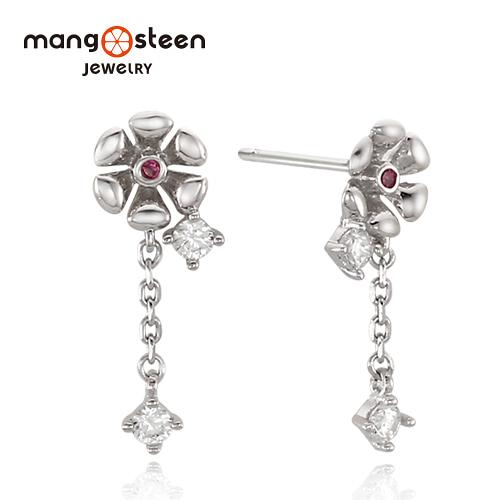 【Mango steen】Earrings韓國璀璨夢境S925極光純銀花型垂墜飾耳環-氣質銀/MJ0006S-EWR/台灣總代理公司貨