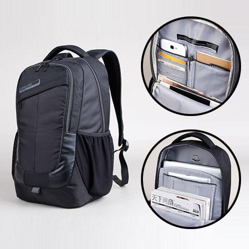 【KINGSONS】防水多功能收納電腦後背包-都會休閒款黑色