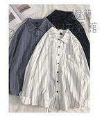 襯衫女2019春新款寬鬆設計感小眾很仙的上衣洋氣條紋襯衣【極簡生活館】