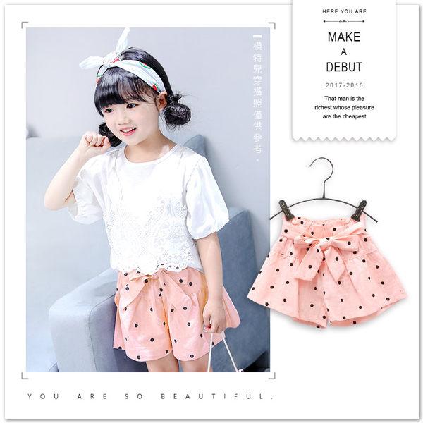 甜美日系波點綁帶棉麻短褲 短褲 女童 氣質 韓版 點點 甜美 日系 清新