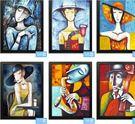 復古畫裝飾畫時尚抽象人物掛畫服裝店壁畫酒吧咖啡廳創意牆畫客廳53*73