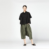 襯衫-短袖純色時尚方形拼接個性女上衣2色73th6[時尚巴黎]