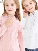 兒童長袖上衣女童襯衫長袖純棉加絨加厚兒童白襯衣韓版女大童秋冬洋氣保暖上衣 小天使