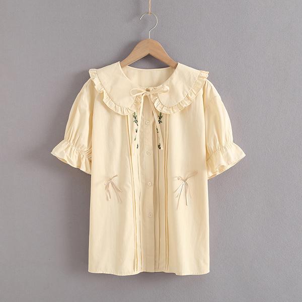 *ORead*韓版小清新褶皺拼接木耳領繡花襯衫(米黃色S,M)